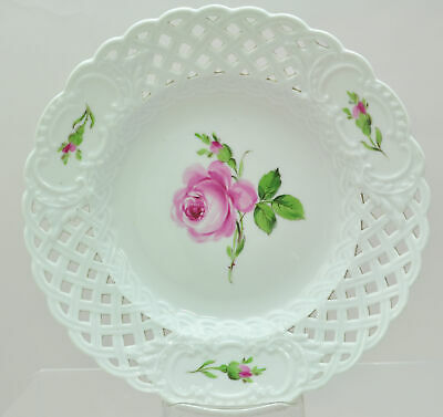 Antique Meissen Rose 8 Inch Reticulated Plate 19th Century