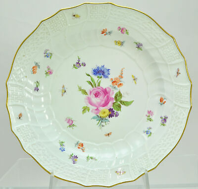 Antique Meissen Rose Floral Sprays 10 Inch Dinner Plate 19th Century