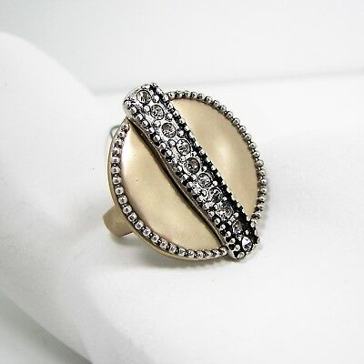 Chicos Dariya Cocktail Ring Crystal Gold & Silver Tone Round Sizes 7 or 9