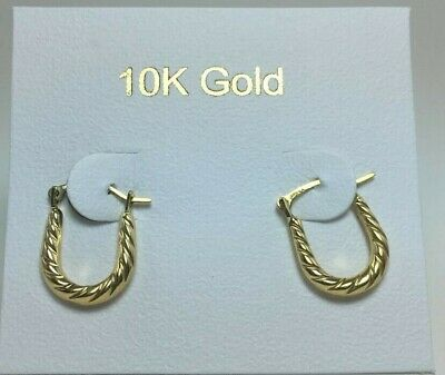 10k Solid Yellow Gold Oval Tiny Baby Size Hoop Earring
