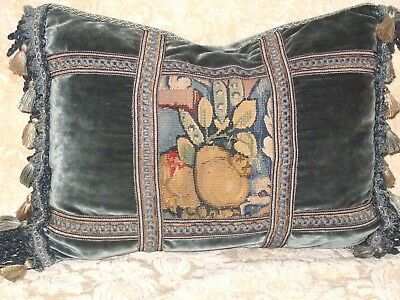 Dramatic 18Th Century French Tapestry Lumbar Pillow Aubusson
