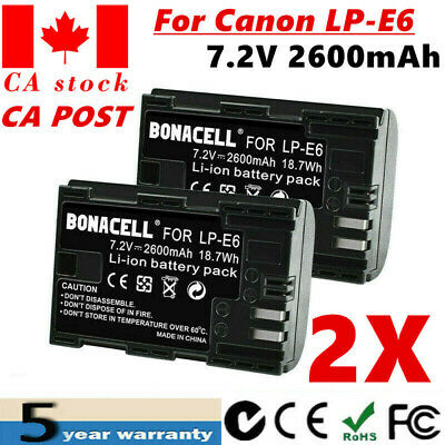 CA! 2 x Decoded LP-E6 LPE6 Battery For Canon EOS 60D 7D Digital Camera SLR UB