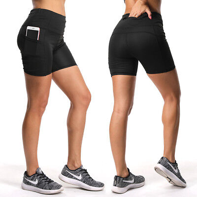 Women's High Waist Yoga Shorts w/Pockets Running Fitness Gym Sports Hot Pants A5