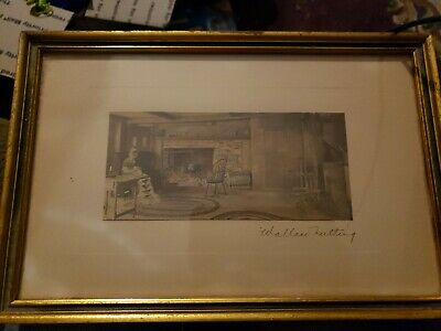 Wallace Nutting Print hand colored 1915 Signed and Framed The Goose Chase Quilt