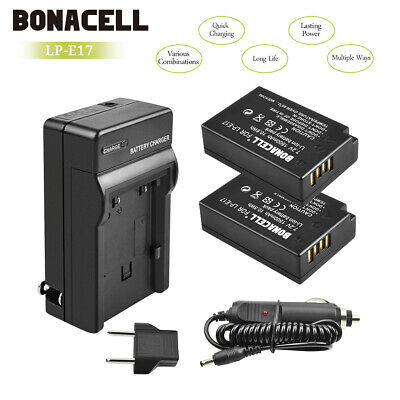 CA! Bonacell Battery LP-E17+charger for Canon EOS Rebel T6i T7i 750D 800D M3 UB