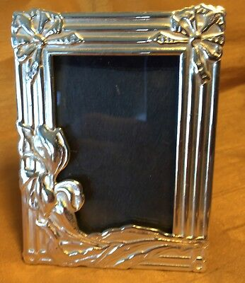 """Art Deco Style 1.5"""" X 2.25"""" Silverplate Easel Frame w Embossed Flowers & Bows"""