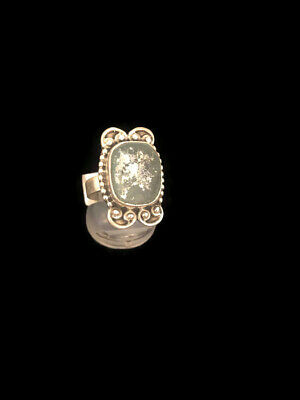 Ancient Roman Glass Ring Sterling Silver Fragments Antique Green Rings Size16/56