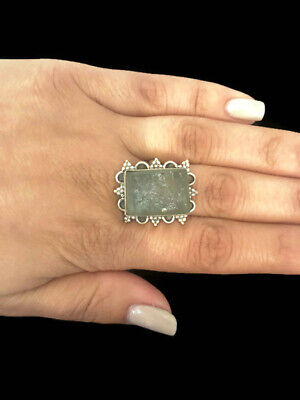 Ancient Roman Glass Ring Sterling Silver Fragments Antique Green Rings Size19/59