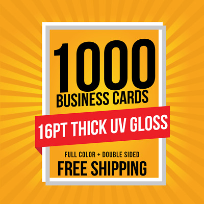 1000 Business Cards THICK 16pt | FULL COLOR | Glossy UV Coating | FREE SHIPPING