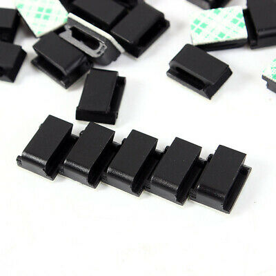 50X Cable Clips Self-Adhesive Cord Management Black Wire Holder Organizer Clamp
