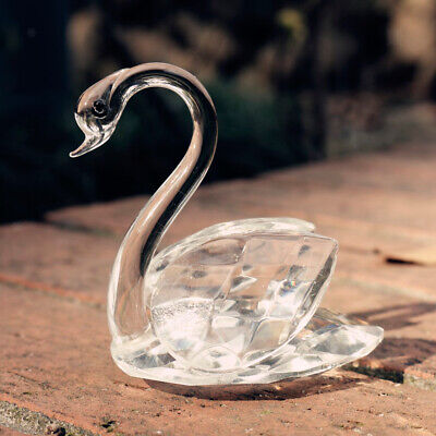 Simulation Crystal Swan Small Gift Table Decor Wedding Favors in Package Box