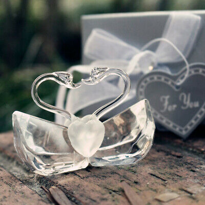 Crystal Kissing Couple Swan Table Decor Wedding Favor in Package Box