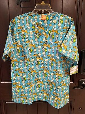 dd8c5c4315d Nickelodeon Rugrats Tommy Pickles / Spike Scrub Top Sz L Large NWT Blue  V-neck