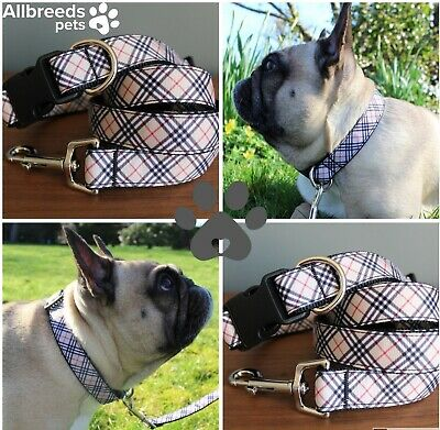 Allbreeds Tan Tartan Dog Collar Lead Set French Bulldog Puppy Frenchie Collar
