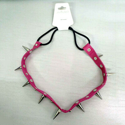 1pc Multifunctional Cool Punk Stud Rivet Spike Collar Necklace Bracelet Headband