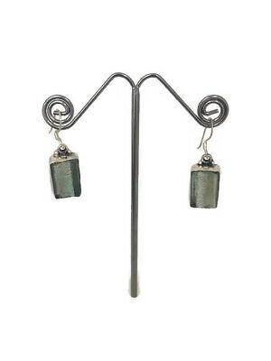Ancient Roman Glass Earrings Sterling Silver 925 Fragments Antique Green Jewelry