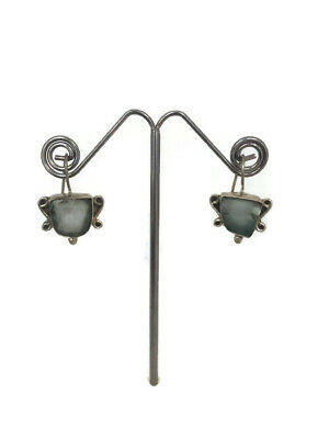 Ancient Earrings Roman Glass Sterling Silver 925 Fragments Antique Green Jewelry