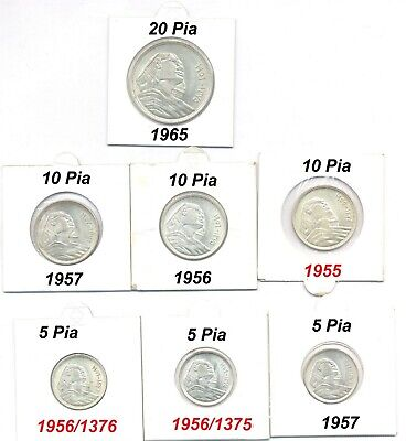 1956/1957 Egypt full Sphinx Silver coins all date 5+10+20 Piastres UNC 7 pieces