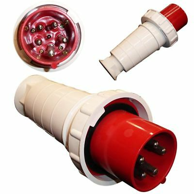63 Amp 5 Pin Plug 380 - 415 Volt 63A Waterproof IP67 3 Phase 3P+N+E Red 415V New
