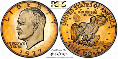 1977-S Proof Silver Eisenhower Ike Dollar PCGS PR67DCAM BEAUTIFUL GOLD TONED WOW