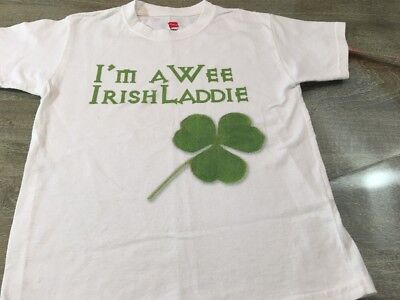 Hanes White T Shirt Boys 6/8 Green I'm Wee Irish Laddie St Patrick's Day