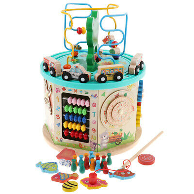 Activity Cube Toys Baby Educational Wooden Bead Maze Shape Sorter Abacus Toy