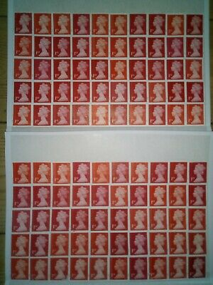 100 x 1st CLASS RED SECURITY STAMPS UNFRANKED OFF PAPER WITH GUM £70 FV 70p #144