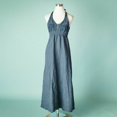 9b16724d55 Linen Small Blue Dress Made In Italy Maxi Midi Long Halter Rosette Ruffle  Resort