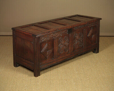 Antique 17th.c. Oak Chest Or Coffer Dated 1678.
