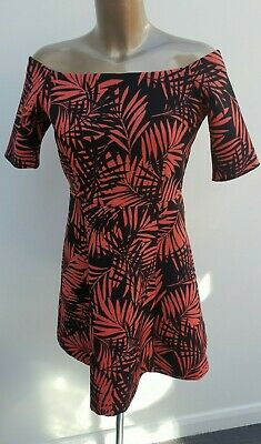 42efd995 ZARA Tropical Print off Shoulder Bardot Black Red Skater Dress Size M UK  10/12