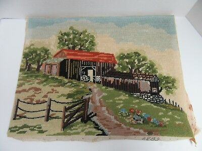 Finished Needlepoint Bucilla Country Scene Barn 4283 Completed 14x18