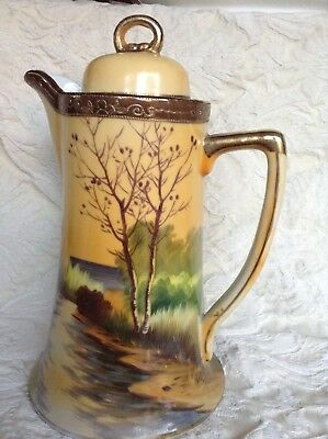 Antique Hand Painted Nippon Coffee Pot, Nature Scene Moriage Detail, 1920-1930