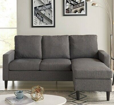 L SHAPED SOFA Reversible Sectional Chaise Lounge Couch Apartment ...