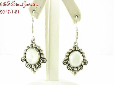 Estate MWS Mexico Sterling Silver 925 Ornate Mother of Pearl Dangle Earrings