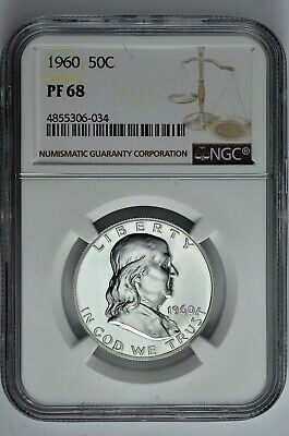 1960 50c Silver Proof Franklin Half Dollar NGC PF 68