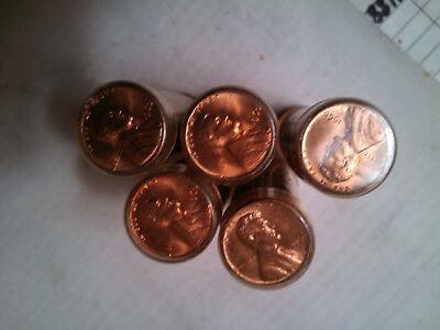 Five Uncirculated rolls of 1960-P Lincoln Memorial Cents.