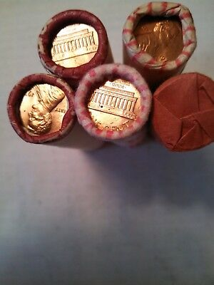 Five Uncirculated rolls of 1974-P Lincoln Memorial Cents.