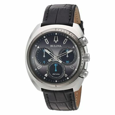 Bulova 98A155 CURV Stainless Steel Case Chronograph Black Leather Men's Watch