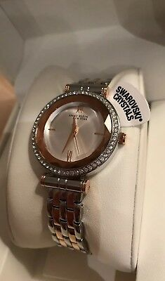 NEW  Anne Klein Womens 32mm Rose-Gold & Silver-Tone Crystal Accent Watch