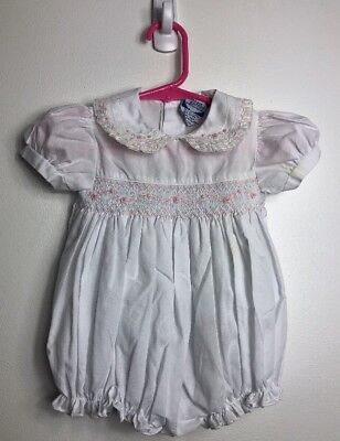 1b51db4e1 Carriage Boutique Infant GIrls White Pink Smocked Romper Jumper Sz 6 Months  EUC