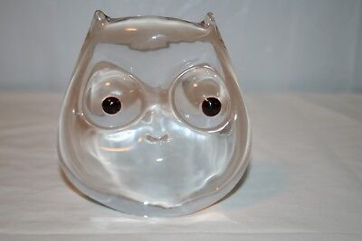 Solid Art Glass Clear Owl Figurine Paperweight