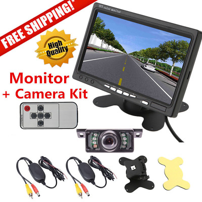 """7"""" TFT LCD Rearview Monitor With A Wireless Night Vision Car Backup Camera kit"""
