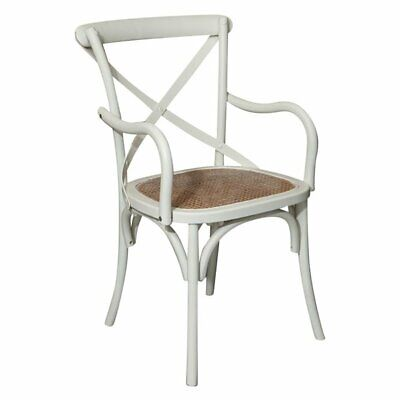 Thonet solid wood ash, antiqued white finish and Viennese cane seat W 50xDP43xH8