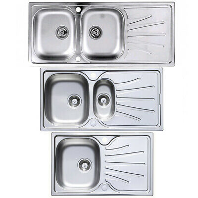 Stainless Steel Sinks 1 2 1.5 Bowl & Drainer Inset Kitchen Reversible Compact