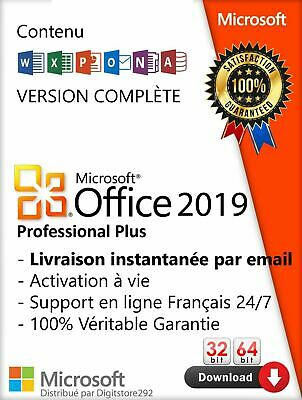 Microsoft Office 2019 Professional Plus activation de licence numérique 64 32bit