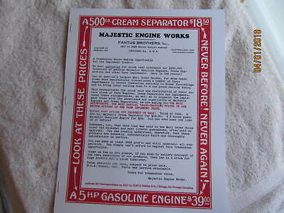 Majestic Gas Engine, Cream Seperator, buzz saw outfit Information sales Advertis