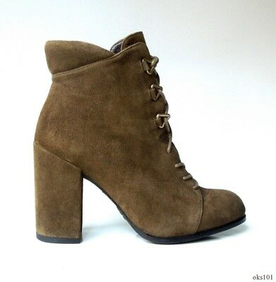 6a3435ddb0c new  598 STUART WEITZMAN  GetGo  olive suede lace-up block heel ANKLE BOOTS