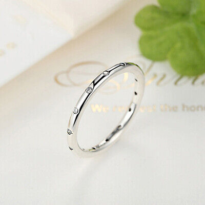 Female Cubic Zirconia Small Stone Thin Ring Silver Plated Engagement Rings 6A