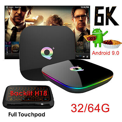 2019 6K Android 9.0 4+32/64G Q Plus Quad Core TV Box WIFI +Backlit Keyboard H18+