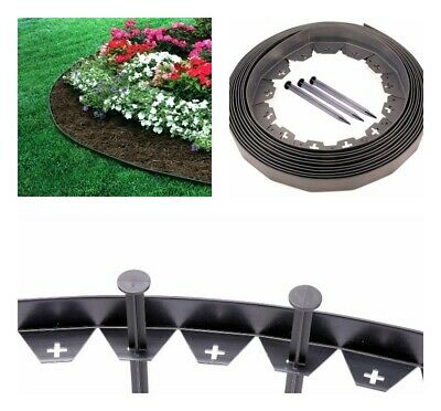 Garden Lawn Edging Flexible Plastic Garden Border 10-100m + STRONG Pegs